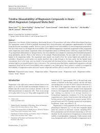 Magnesium Bioavailability Chart Pdf Timeline Bioavailability Of Magnesium Compounds In