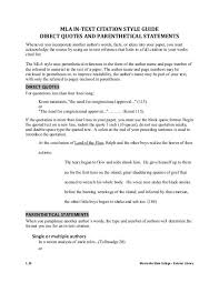 Direct Quotes Mla In Text Citation Style Guide Direct Quotes And Parenthetical