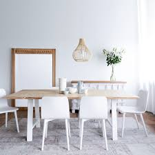 Teak Dining Table Whitewash   A-frame White Base