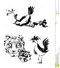 chinese tiger drawing. Perfect Tiger Animal Chinese Brush Painting Drawing Tiger Rooster And Bird C Throughout Chinese Tiger Drawing