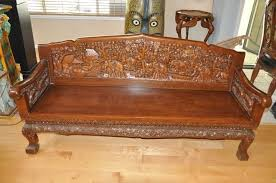 vintage teak wood carved sofa chair
