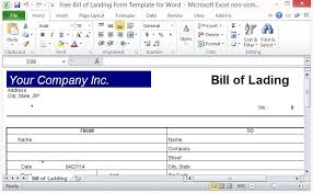 Word Bill Of Lading Template Free Bill Of Lading Form Template For Excel