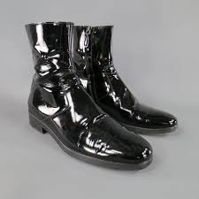 men s balenciaga size 8 black patent leather chelsea zip ankle boots in good condition for