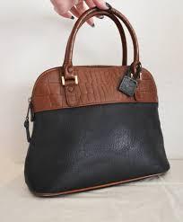 free ship giani bernini purse vegan faux leather black and brown reptile print h 23 00