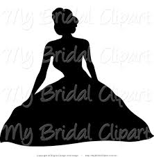 Bridal Clipart Of A Black Silhouetted Bride Sitting In Her Puffy