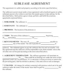 Sublease Agreement Samples Sub Lease Template Free Sublease Agreement Form Template Sublet