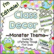 First Grade Job Chart Classroom Decor Editable Monster Theme