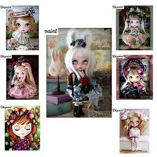 5D DIY <b>Diamond</b> Painting <b>Cartoon girl</b> / doll 3D Embroidery Home ...