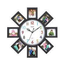 plastic glass wall photo frame clock