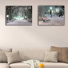 Lighted Central Park Canvas Wall Art Us 14 99 25 Off Lighted Canvas Print White And Black Central Park Winter Night Wall Decor Led Picture Artwork Painting Christmas Decorative Gift In
