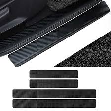 vehemo 4pc black car door plate stickers carbon fiber look sticker sill scuff cover anti scratch decal universal for all