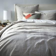 belgian flax linen duvet cover sham white striped full queen platinum a 1 2 home