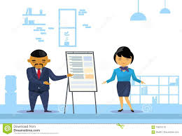 Asian Business Man And Woman Holding Presentation Finance