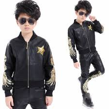 children boy leather long sleeve black with gold sequins hip hop hiphop performance competition ds jazz costumes pants jacket set