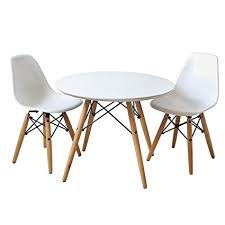 buschman set of table and 2 white kids eames style retro modern dining room mid century