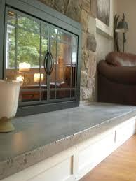 custom made concrete hearth and custom mantel farmhouse fireplacediy
