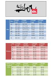 43 Expository Quiksilver Sizing Chart