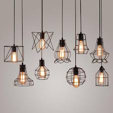 modern black cage pendant lights iron minimalist retro loft pyramid lamp metal hanging lamp e27 indoor canada 2019 from stylenew cad 19 77 dhgate canada