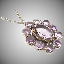 antique victorian sterling silver large amethyst pendant necklace