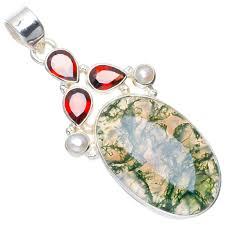 2019 natural moss agate garnet and river pearl handmade unique 925 sterling silver pendant 2 a0303 from wanyar 47 36 dhgate com