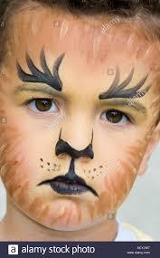 little boy wearing tiger or lion face paint