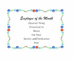 Employee Of The Year Certificate Template Free Employee Of The Month Certificate Template Best Free Funny