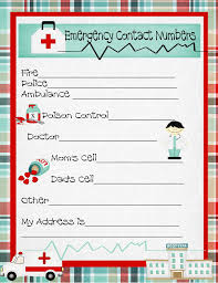 Emergency Contact Printable Emergency Numbers Printable Emergency Contact Phone Numbers And A