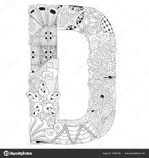 Letter D Om In Te Kleuren Decoratieve Zentangle Vectorobject