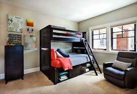 Bedroom: Showy Teenage Boy Room With Black Wooden Bunk Bed And Single Sofa  Chair Also Chest Of Drawer As Storage. Room For Teenagers, A Boys Bedroom,  ...