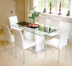 glass dining table with white chairs  with glass dining table