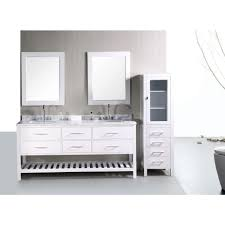 element contemporary bathroom vanity set: design element london  in w x  in d vanity in pearl white with marble vanity top and mirror in carrara white decb w the home depot