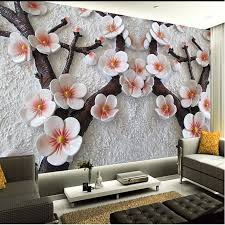 custom wall mural modern art painting high quality mural wallpaper 3d living room tv backdrop relief plum photo wall paper