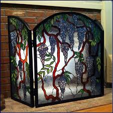home delightful fireplace screen residence plan retro stained inside glass screens decor 9