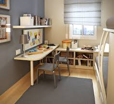 Interesting Small Workspace Designs for Kids Room with White Table and Grey  Chairs near Simple Bookshelves