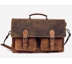 16 inch retro buffalo hunter leather laptop messenger bag office briefcase matte brown
