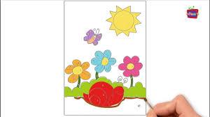 Bé tập vẽ vườn hoa vẽ ông mặt trời vẽ ốc sên - YouTube