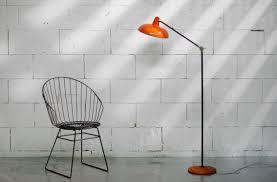 Retro Vintage Metalen Staande Lamp Oranje Jaren 50 60 Dehuiszwaluw