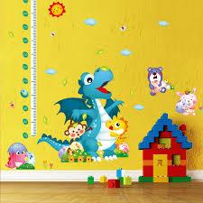 Cartoon Animals Dinosaur Wall Stickers Kids Height Measurement Wall Decals Height Growth Chart Wallpaper Poster Height Ruler Wall Mural Art Canada