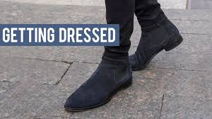 Wear chelsea boots for men with jeans or a suit and no one will bat an eye. Wearing Black And Navy Chelsea Boots With Denim Jeans Getting Dressed Step By Step 23 Youtube