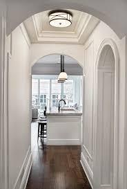 chicago hallway lighting fixtures hall traditional with dark oak wood flooring wall mirrors flushmount light