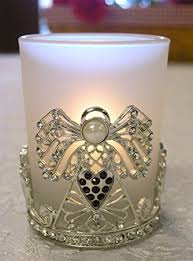 Angel Candle Holder - Frosted Glass Tea Light or Votive Candle Holder -  Jeweled Crystal Wings