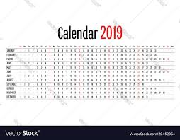 Horizontal Calendar 2019 Calendar Design Horizontal Dimension Template