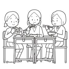 ともだちと一緒にお弁当を食べる女子学生のイラストぬりえ 子供と