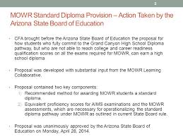 move on when ready standard diploma provision ppt  mowr standard diploma provision action taken by the arizona state board of education cfa brought