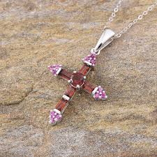 karis collection mozambique garnet bgt simulated red diamond cross pendant in platinum