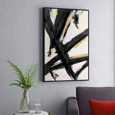 black and gold abstract brushstrokes