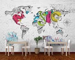 Beibehang Aangepaste Behang Witte Bakstenen Muur Wereldkaart Nordic