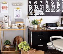 office coffee cart. Decorating A Shared Home Office, With Colorful Industrial Style. Her Side Is Pink And Office Coffee Cart