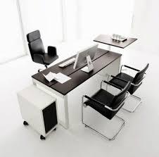 Ergonomic Computer Desk Black Leather Ergonomic Computer Chair With Modern Desk For