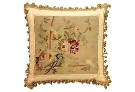 antique pillow w fringe on made with an wool and silk french tapestry back down fill